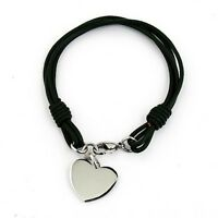 Personalised Black Leather Heart Charm Bracelet with Free Engraving and Gift Box
