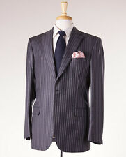 NWT $6500 BRIONI Slate Charcoal Gray Stripe Super 150s Wool Suit 42 R 'Brunico'