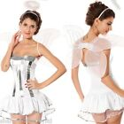 Ladies Sexy White Christmas Angel + Wings & Halo Fancy Dress Costume Outfit 8-12