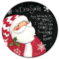 Dear Santa Christmas 13in. Tempered Glass Lazy Susan Turntable