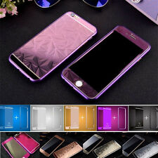 For iPhone 7 5 6 6s plus Front Back 3D Diamond Tempered Glass Metal Bumper Case