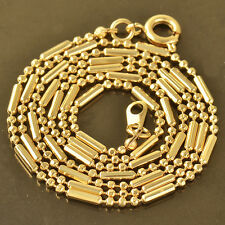 Authentic 9K Solid Gold Plated Womens Beaded Chain Necklace,20 Inch,Z4168