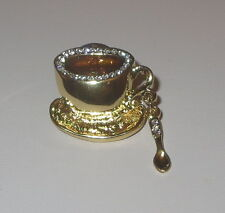 Coffee Cup Pin Spoon Gold Tone Crystal Accents Plate Tea Tie Tac Backing New