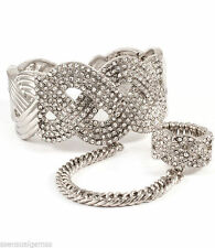 Pave Crystal Bracelet Bead Beaded Adjustable Ring Women Ladies Slave Silver Tone