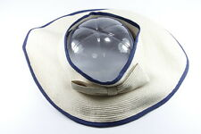 RETRO LADIES BLUE/ CREAM STRAW OPEN TOP SUMMER HAT UNIQUE (HT24)