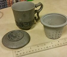 Vintage Oriental Pottery Tea Pot Cup Infuser W/ Lid Ceramic Mug Dragon Chariot