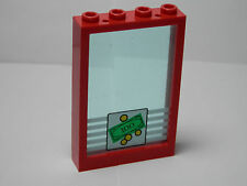 LEGOS - Red Window 1 x 4 x 5 Trans Light Blue Glass Bank Money 4 Coins Pattern