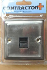 One Electrical CP1711 Brushed Chrome Single Telephone Master Socket black insert