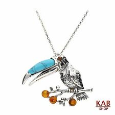 "BALTIC AMBER STERLING SILVER 925 BEAUTY PENDANT - BIRD TOUCAN+18"" chain, KAB-205"