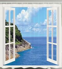 OPEN WHITE WINDOW MOUNTAIN CLIFF BLUE OCEAN WATER PARADISE BATH SHOWER CURTAIN