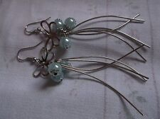 BRAND NEW SILVER PLATED BUTTERFLIY AND PALE BLUE BALL AND STRANDS EARINGS