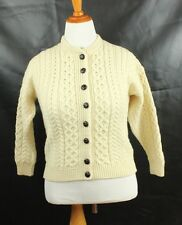 Carraig Donn Small to Medium S M Women's Sweater Wool Cable Crochet Cardigan