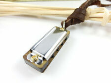 Real Harmonica Pendant Brown Leather Chain Mouth Organ Necklace Charm Men Women