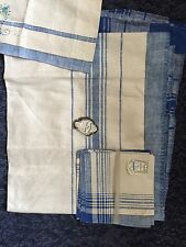 Vintage Belgium Linen Tablecloth 54x76 4 Napkins Irish + valance NWT blue White