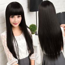 100% Menschenhaar! Damen Lang Schwarz Gerade Perücke Human Hair Wig 02