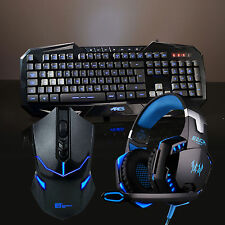ARES k3 7 LED backlits Gaming Tastiera e Mouse Senza Fili con Auricolari Mic Bundle