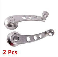 SILVER Chrome Plated Billet Car Auto Window Aluminum Winder Pair Crank Handle
