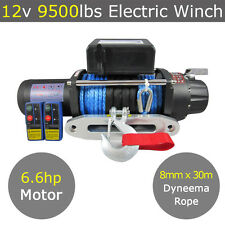 12V 9500lb Electric Winch 8mm X 30m Dyneema Synthetic Rope 4X4 9000lb 12000lb