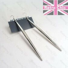 ELEGANT 10cm long DROP PENDANT EARRINGS spikes SPEAR drops SILVER FASHION spears