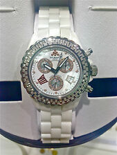 TECHNO JPM CHRONOGRAPH DIAMOND BEZEL DIAL ROMAN NUMERAL WHITE CERAMIC WATCH
