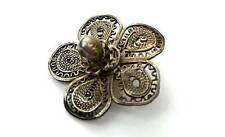 Antique Button Silvery Filigree Lacy Flower Pin Shank Peasant-Type Realistic