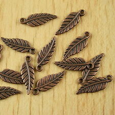 50pcs copper-tone leaf charms findings H1893