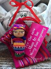 Guatemalan Worry Dolls 5cm Mum-To-Be Doll in Pouch Handmade in Guatemala