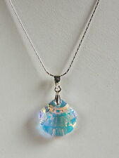 Stunning STERLING SILVER 925 NECKLACE Clear AB CRYSTAL Shell SWAROVSKI Elements