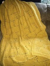 Tommy Hilfiger Yellow Cotton Knit  Decorative Throw Blanket NEW!
