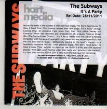 (CN729) The Subways, It's A Party - 2011 DJ CD