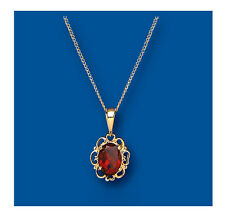 "Yellow Gold Real Garnet Pendant With 18"" Chain  British Made - Hallmarked"
