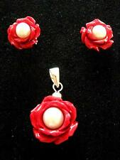 Sterling Silver Red carved Rose Flower Pearl Pendant  & stud earrings set Gift