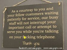 Retail Shop Sign F*cking Telephone Customer Bar Pub Phone Cell Mobile Wood Sign