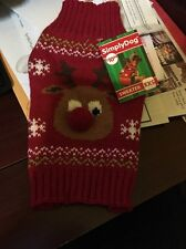 simply dog clothes Red Rudolph Sweater Size XXS