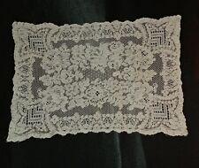 """Antique Vtg ALENCON LACE DRESSER RUNNER DOILY CENTERPIECE 14""""×10"""" Gorgeous(#102)"""
