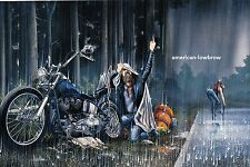 Dave David Mann Biker Art Motorcycle Poster Print Heavy Rain Breakdown Harley