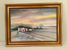 Vtg Gold Frame Watercolor Landscape Barn/Farm Countryside Morning Sky
