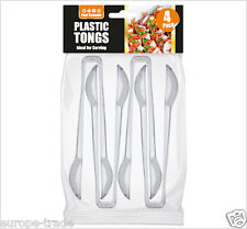 """4 Clear Plastic Food Grade Serving Tongs - Perfect for a Party, BBQ, Picnic 6"""""""