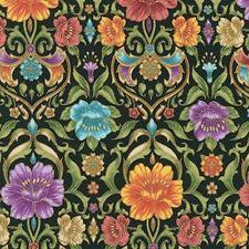 Kaufman Grand Majolica SRKM 15837 2 Black Floral Damask BTY COTTON