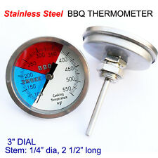 """3"""" 550F BBQ GRILL SMOKER PIT THERMOMETER SS THERMOSTAT PIT TEMP GAUGE 1/2"""" NPT"""