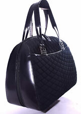 BALLY Vintage Black Quilted Nylon & Leather Tote Purse