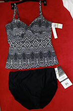 Christina Black White Print Size 14 Top with Fantasizer Black Bottoms size 14