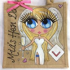 Personalised Handpainted Hen Party Bride To Be Wedding Jute Gift Hand Bag