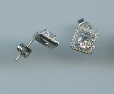 925 Sterling Silver 1/2 Carat 5MM Each Round Cut CZ Halo Solitaire Stud Earrings