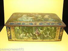 Jolie ancienne boîte en tôle avec sa clef décor d'intérieurs XIX ème