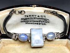 Beautiful Old Sterling Silver Double Plait Moonstone Bracelet