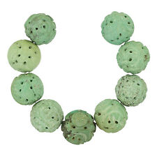 9 Natural Chinese Turquoise Hand Carved Round Beads 17-18mm 47g #82246