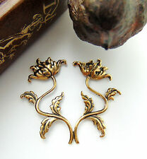 Double Flower Spray Antique Ox Brass Stamping - Findings (FA-6096) `