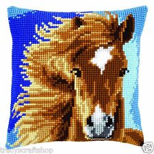Brown Horse Chunky Cross Stitch Cushion Front Kit 40x40cm Vervaco