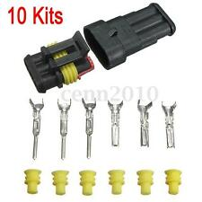 10Set Car 3 Pin Way Sealed Waterproof Electrical Wire Auto Connector Plug Set